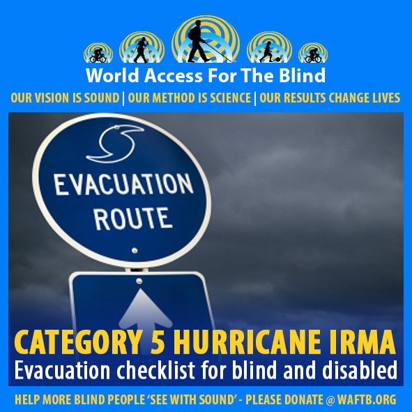 WAFTB Facebook Module frames a photo of an Evacuation Route Sign pictured against dark clouds in the sky. Caption: Category 5 Hurricane Irma. Evacuation checklist for blind and disabled.