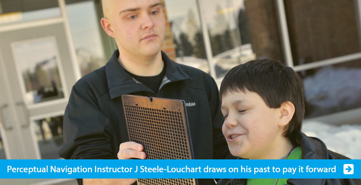 Banner slide shows WAFTB instructor J Steele-Louchart working with a young student in Michigan. The banner text line reads: Perceptual Navigation Instructor J Steele-Louchart draws on his past to pay it forward. Click to go to the page.