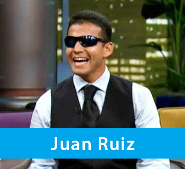 Photo of WAFTB Perceptual Navigation Instructor Juan Ruiz dressed in a shirt, tie and vest for an appearance on Univision, the Spanish language cable network.
