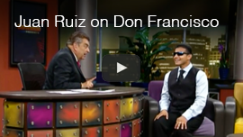 Video thumbnail shows World Access For The Blind Perceptual Navigation Instructor Juan Ruiz as a guest on Don Francisco Presenta on the Univision Spanish-language network. Click the thumbnail to see and hear the video on YouTube.
