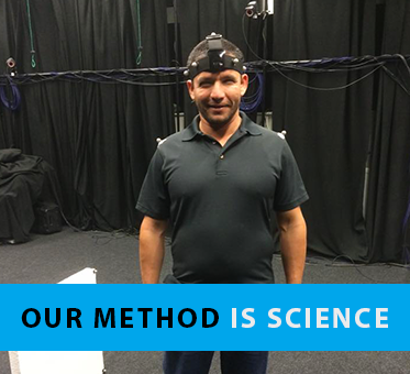 Column heading box shows a photo of Perceptual Navigation Instructor Juan Ruiz pictured wearing head gear that is part of an echolocation study lab at Durham University in the UK. The banner text reads: Our Method Is Science.