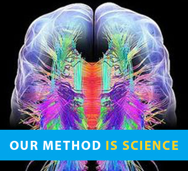 Our Method Is Science. Photo shows computer graphic image of the brain.