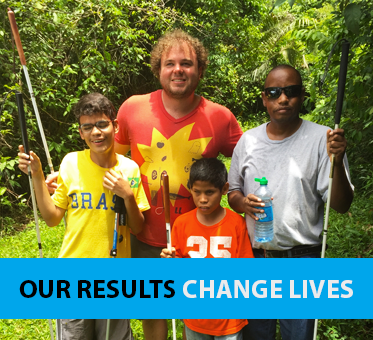 Column header box shows a photo of Perceptual Navigation Instructor Brian Bushway pictured with three of our students in Belize. The banner text reads: Our Results Change Lives.