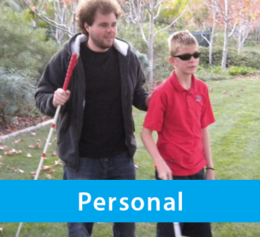 Photo for Personal drop-down banner shows World Access For The Blind Perceptual Navigation Instructor Brian Bushway working with a blind teenage boy.