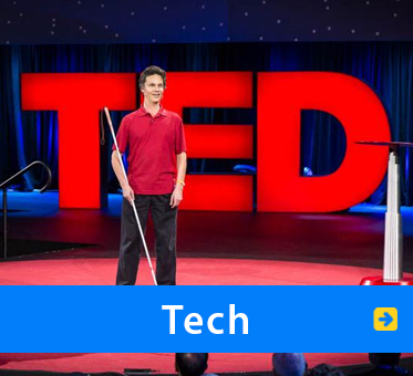 Tech. Image: WAFTB President Daniel Kish speaks onstage at a global TED Conference.
