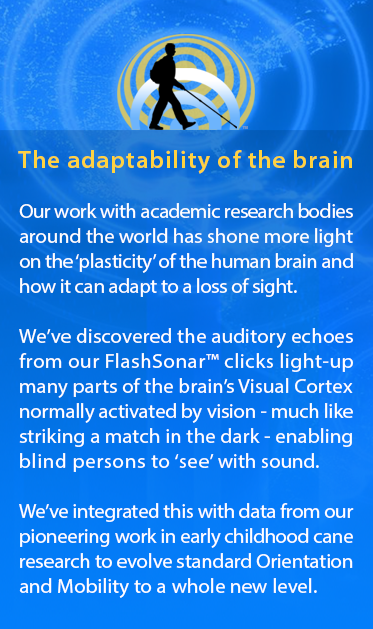 The adaptability of the human brain. Our work with academic research bodies around the world has shone more light on the 'plasticity' of the human brain and how it can adapt to a loss of sight. We've discovered the auditory echoes from our FlashSonar™ clicks light-up parts of the brain's Visual Cortex normally used to see, like striking a match in the dark, enabling blind persons to 'see' with sound. We've integrated this with data from our pioneering work in early childhood cane research to evolve standard Orientation and Mobility to a whole new level. Same background as previous module.