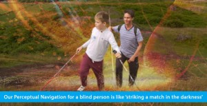A hybrid photo shows World Access For The Blind Founder and President Daniel Kish walking up a hill in Scotland behind WAFTB student Ethan Loch. Both are holding full-length navigation canes, while Ethan also holds a hiking pole. Superimposed is a photo of of a match head string and shooting sparks. The banner text reads: Our Perceptual Navigation for a blind person is like 'striking a match in the darkness'.