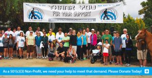Banner shows a photo of people at a World Access For The Blind event under a wide white banner that shows the text: Thank You for your Support in between two of the WAFTB logo icons. The bottom banner text line reads: As a 501c3 Non-Profit, we need your help to meet that demand. Please Donate Today! Click here to make a donation.