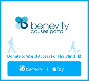 Benevity.org Causes Portal. DOnate to World Access For The Blind. Benevity plus Apple Pay. Image shows Benevity logo.