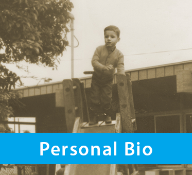 Photo shows Daniel Kish as a child standing at the top of a slide at school. The text band reads: Personal Bio.