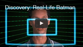 Video Thumbnail shows a simulation of light blue Flash Sonar echolocation sound waves emanating from Daniel Kish as he 'click'. Click here to see and hear the Discovery TV feature 'The Real-Life Batman'.