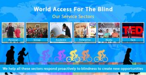 Banner slide shows multi-colored silhouettes of cyclists along with black silhouettes of a male and female couple walking with navigation/hiking canes, and a boy in the foreground playing soccer with a ball tied inside a plastic bag to give audio cues, set against a blue world map with Flash Sonar Rings faintly superimposed. The top text reads: World Access For The Blind - Our Service Sectors. Six photo boxes are shown below reading from left to right: Personal, which shows a photo of Perceptual Mobility Instructor Brian Bushway working with a male student; Group, showing our Instructors with participants at a Perceptual Mobility workshop at the 2015 No Barriers Conference; the third box is titled Academic and shows Daniel Kish lying on an MRI unit as it prepares to scan his brain activity; the fourth box is titled Enterprise and shows a photo of our Perceptual Navigation instructors Brian Bushway and Juan Ruiz speaking to a group of employees at a client organization; the fifth box is titled Media and the photo shows Daniel Kish sitting between two stars of the motion picture Thaanavam which he consulted for and made a cameo appearance in; the final box is titled Tech and shows Daniel Kish standing onstage holding a full-length navigation cane at the 2015 TED conference in Vancouver. The lower banner text reads: We help all these sectors respond to blindness proactively to create new opportunities.