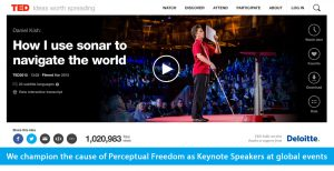 Banner slide shows the TED page for World Access For The Blind Founder and President Daniel Kish and his 2015 TED talk titled: How I use sonar to navigate the world, which is showing over 1 million views. The banner text reads: We champion the cause of Perceptual Freedom as Keynote Speakers at global events. CLick on the banner to go to Daniel's TED page and video.