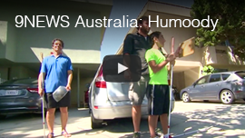 9News Network Australia: Humoody Smith. Video image: WAFTB Perceptual Navigation Instructors Daniel Kish and Brian Bushway train with blind student Humoody for this Australian TV report.