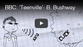 Video thumbnail from BBC Network's 'Switch' series shows a pencil drawing of World Access For The Blind Perceptual Navigation Instructor Brian Bushway making FlashSonar echolocation clicks at a tree as part of the program 'Teenville'. CLick on the thumbnail to go to the video.