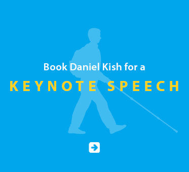 Boxed link banner reads: Book Daniel Kish for a Keynote Speech. Click on the banner to go to the booking page.