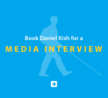 Boxed link banner reads: Book Daniel Kish for a Media interview. Click on the banner to go to the booking page.