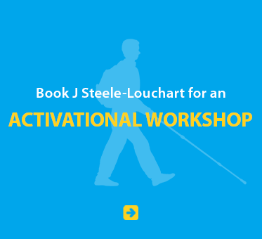 Blue Link Box with a light blue silhouette of Daniel Kish reads: Book J Steele-Louchart for an Activational Workshop. Click on the box to go to the booking page.