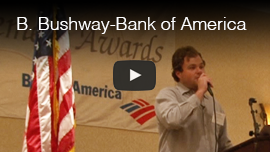 Video thumbnail of World Access For The Blind Perceptual Navigation Instructor Brian Bushway delivering a keynote speech at the Bank of America Achievement Awards. CLick on the thumbnail to go to the video.