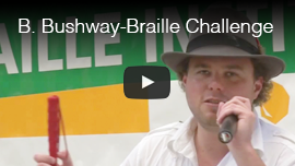 Video thumbnail of World Access For The Blind Perceptual Navigation Instructor Brian Bushway speaking at the Braille Institute's Braille Challenge in 2010. Click on the thumbnail to go to the video.