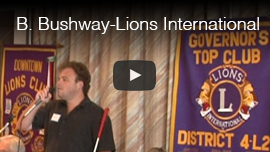 Video Thumbnail shows World Access For The Blind Perceptual Navigation Instructor Brian Bushway speaking at Lions international Governor's Top Club. Click on the thumbnail to go to the video.