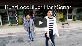 Video thumbnail for BuzzFeedBlue shows World Access For The Blind President and Lead Perceptual Navigation Instructor Daniel Kish walking behind WAFTB Perceptual Navigation instructor Juan Ruiz and a student. Click on the thumbnail to go to the video which has over 700 thousand views.