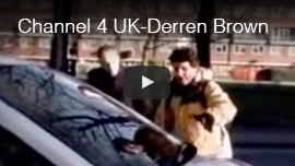 Video thumbnail shows World Access For The Blind President Daniel Kish on Channel 4's Derren Brown 'Psychic Spy' special in the UK, using Flash Sonar Echolocation to describe the outline of a car. CLick on the thumbnail to go to the video.