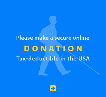 Please make a secure online Donation. Tax deductible in the USA. Image: Silhouette of Daniel Kish walking.