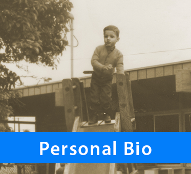 Personal Bio. Photo: Daniel Kish, as a child, stands on top of a playground slide.