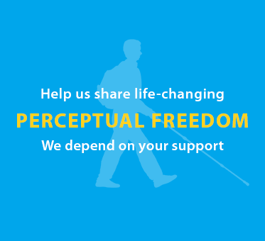 Text box shows a light blue silhouette of Daniel Kish walking with a full-length cane against a deeper blue background. Text reads: Help us share life-changing Perceptual Freedom. We depend on your support. Click here to make a donation.