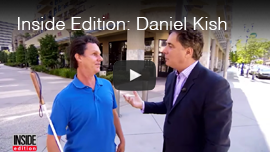 Video Thumbnail for Inside Edition shows World Access For The Blind President Daniel Kish being interviewed by Jim Moret in downtown Long Beach, California. CLick on the thumbnail to go to the video.