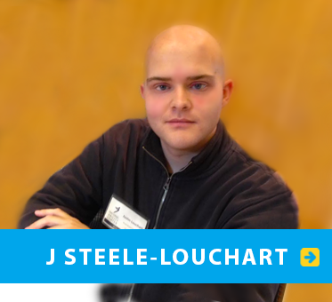 Box link banner shows World Access For The Blind Perceptual Navigation Instructor J Steele-Louchart at a conference. Click on the box to go to J's Page.