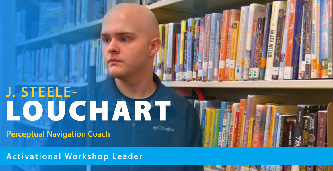 Page banner shows a photo of J Steele-Louchart in a library. Text overlay reads: J. Steele-Louchart : Perceptual Navigation Coach. Text band reads: Activational Workshop Leader.