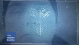 Video Thumbnail screengrab shows the previous image of J Steele-Louchart half-dissolved into a graphic image of a tree with flash sonar™ rings outlining the shape of a tree as J uses FlashSonar™ licks to map the outline of the tree.