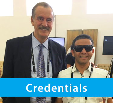 Box Banner shows a photo of World Access For The Blind Perceptual Navigation Instructor Juan Ruiz standing with former Mexican President Vicente Fox . The text band reads: Credentials.