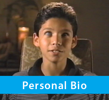Boxed Banner shows a screengrab from a video where a 9 year-old Juan Ruiz says his famous quote 'You guys can see with your eyes and we can see with our ears.' Text band reads: Personal Bio.