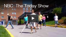 Video thumbnail from NBC News - The Today Show captures World Access For The Blind President Daniel Kish leading a group of blind students in a workshop for the Vermont Association for the Blind and Visually Impaired. Click on the thumbnail to go to the video.