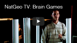 Video thumbnail from the National Geographic Channel program 'Brain Games' shows World Access For The Blind president Daniel Kish navigating around metal poles in a studio. CLick on the thumbnail to go to the video.