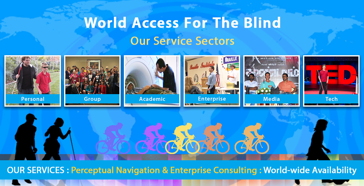 Banner slide shows multi-colored silhouettes of cyclists along with black silhouettes of a male and female couple walking with navigation/hiking canes, and a boy in the foreground playing soccer with a ball tied inside a plastic bag to give audio cues, set against a blue world map with Flash Sonar Rings faintly superimposed. The top text reads: World Access For The Blind - Our Service Sectors. Six photo boxes are shown below reading from left to right: Personal, which shows a photo of Perceptual Mobility Instructor Brian Bushway working with a male student; Group, showing our Instructors with participants at a Perceptual Mobility workshop at the 2015 No Barriers Conference; the third box is titled Academic and shows Daniel Kish lying on an MRI unit as it prepares to scan his brain activity; the fourth box is titled Enterprise and shows a photo of our Perceptual Navigation instructors Brian Bushway and Juan Ruiz speaking to a group of employees at a client organization; the fifth box is titled Media and the photo shows Daniel Kish sitting between two stars of the motion picture Thaanavam which he consulted for and made a cameo appearance in; the final box is titled Tech and shows Daniel Kish standing onstage holding a full-length navigation cane at the 2015 TED conference in Vancouver. The lower banner text reads: OUR SERVICES: Perceptual Navigation & Enterprise Consulting: World-wide availability.