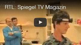 Video thumbnail from RTL Network's program 'Spiegel Magazin' , a German language documentary program in which Daniel Kish is wearing a prototype sonar device in a lab. CLick on the thumbnail to go to the video.