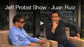 Video thumbnail shows World Access For The Blind Perceptual Navigation Instructor Juan Ruiz being interviewed on the Jeff Probst Show. Click on the thumbnail to go to the video.