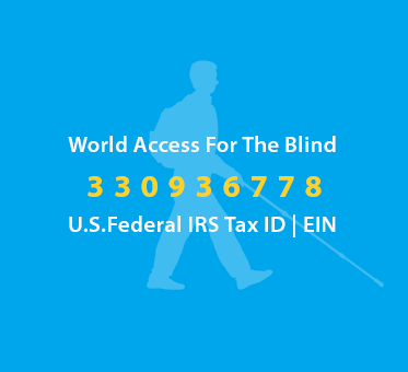 Text box shows a light blue silhouette of Daniel Kish walking with a full-length cane against a deeper blue background. Text reads: World Access For The Blind U.S. Federal IRS Tax ID | EIN 330936778.