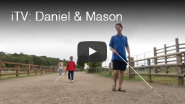 Video thumbnail from iTV in the UK shows World Access For The Blind President Daniel Kish working with a young boy named Mason in England. Click on the thumbnail to go to the video.