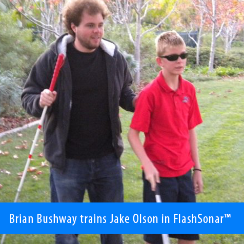 Brian Bushway trains Jake Olson in FlashSonar.