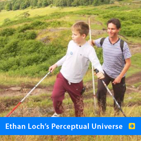 Ethan Loch's Perceptual Universe. Image of World Access For The Blind President and Lead Perceptual Navigation Instructor Daniel Kish walking on a hilly trail in Scotland with student Ethan Lock.