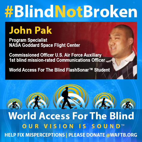 Program Specialist at the NASA Goddard Space Flight Center; Commissioned Officer U.S. Air Forve Auxiliary; First blind mission-rated Communications Officer; World Access For The Blind Student. Iimage shows a photo of John Pak speaking at TEDX Cambridge.