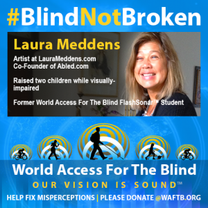 Artist at LauraMeddens.com, Co-Founder of Abled.com; Raised two children while visually-impaired. Former World Access For The Blind FlashSonar Student.