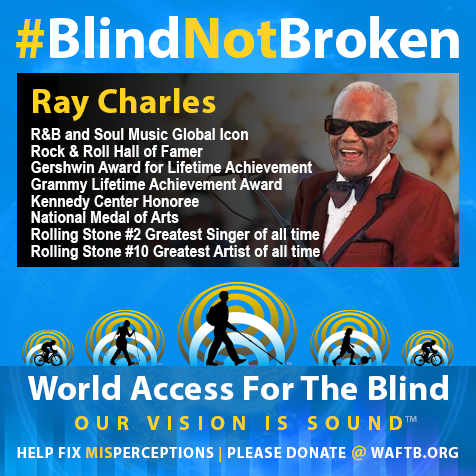 Ray Charles. Blind Not Broken. R&B and Soul Music Global icon; Rock and Roll Hall of Famer; Gershwin Award for Lifetime Achievement; Grammy Lifetime Achievement Award; Kennedy Center Honoree; National Medal of Arts, Rolling Stone #2 greatest singer of all time; Rolling STone #10 greatest Artist of all time. Photo shows Ray Charles in a red and black tuxedo performing onstage.