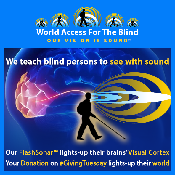 We teach blind persons to see with sound. Our FlashSonar lights-up their brains' Visual Cortex. Your dondation on Giving Tuesday lights-up their world. Image shows silhouette of Daniel Kish walking with his cane and a graphic representation of FlashSonar Waves emanating from his tongue click and reflecting back superimposed over a graphical representation of the brain with the visual cortex lit-up.