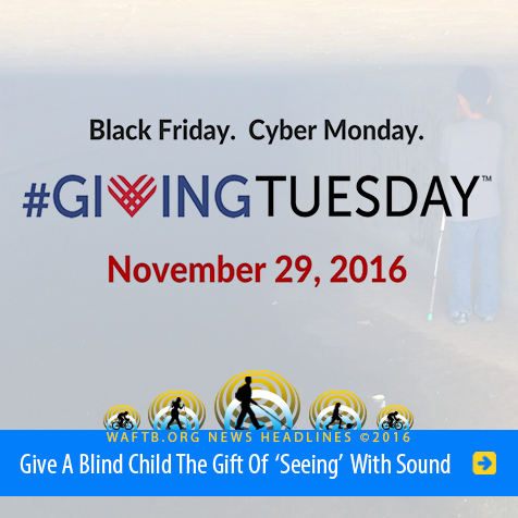 Headline: Black Friday. Cyber Monday. Giving Tuesday. November 29, 2016. Give a blind child the gift of 'seeing' with sound.